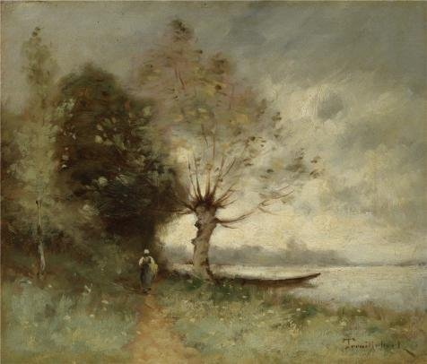 Oil Painting 'Bank Of The Loire Near Chouze,1893 By Paul Desire Trouillebert' Printing On Perfect Effect Canvas , 12x14 Inch / 30x36 Cm ,the Best Gym Gallery Art And Home - Elephant Blanket Boa