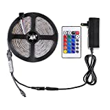 #10: WenTop Led Strip Lights Kit Waterproof DC12V SMD 3528 16.4Ft (5M) 300leds 60leds/m RGB Flexible Tape Light with Power Supply and 24key Remote for TV Backlighting, Under Cabinet - RGB Colors Only
