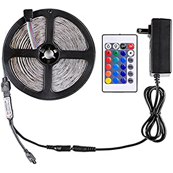 wentop led strip lights kit waterproof dc12v smd 164ft 5m 300leds 60leds