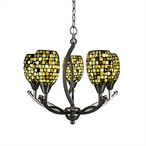 Toltec Lighting 275-BN-408 Bow 5 Light Chandelier with Sea Haze Seashell Glass, 5