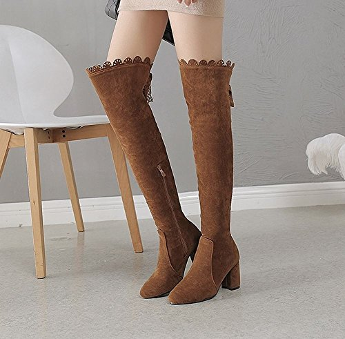 Border Carolbar Boots Zip Lace Brown Knee Womens Retro Decorative The Over aCqwTtqx