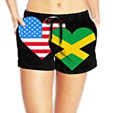 JG75BDS American Jamaica Heart Flag Womens Lightweight Boardshorts Drawstring Swimming Shorts with Pockets