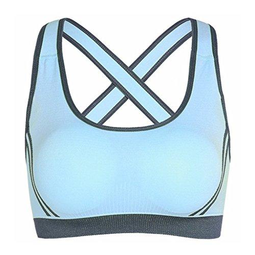 Sujetador Deportivo De Yoga Para Mujer,Netspower Sujetador Deportivo De Yoga Para Mujer Brazaletes Anchos Sujetador Bralette Suporte Sin Costuras Azul claro