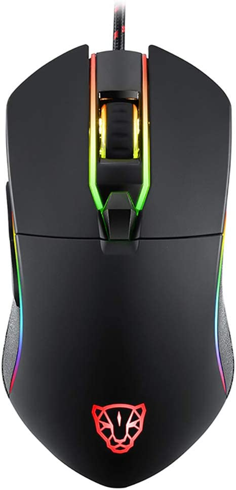 Adjustable RGB Backlit Apple MacBook Laptop Adjustable DPI Mouse for PC Black QKa USB Wired Gaming Mouse Programmable 3500DPI with 6 Buttons
