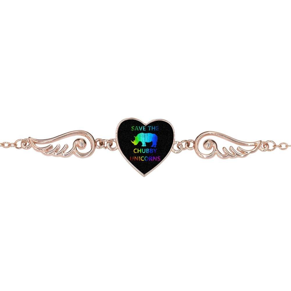 LUQeo Save The Chubby Unicorn Personalized Design Heart Charm Bracelet Jewelry