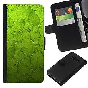 Planetar® Modelo colorido cuero carpeta tirón caso cubierta piel Holster Funda protección Para Samsung Galaxy Core Prime / SM-G360 ( Green Sun Nature Biology Macroscopic )