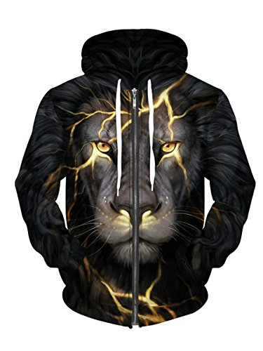 Royalove Winter Coats For Women Printed Full-Zip Hoodie Jacket Sweatershirt Lion XXXL