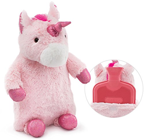 HomeTop Premium Classic Rubber Hot Water Bottle with Cute Unicorn Cover (2L, Pink) (Bottle Hot Water Kids)