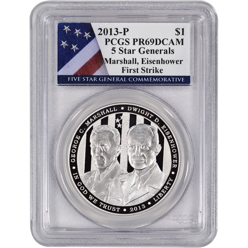 2013 P US 5-Star Generals Commemorative Proof Silver $1 PCGS PR69 First Strike Flag
