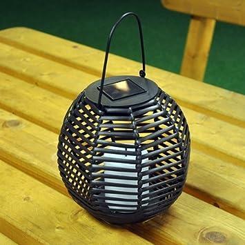 Garden Mile® Solar Powered Night Light Rattan Style Hanging Solar LED  Candle Lantern Stylish Garden