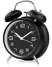otumixx Réveil Matin à Double Cloche, Réveil Rétro Silencieux Horloge de Chevet avec Lumière de Nuit pour Sommeil Bureau Chambre Voyage, 4 Pouces