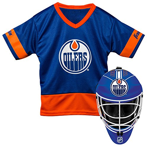 Franklin Sports Edmonton Oilers Kid's Hockey Costume Set - Youth Jersey & Goalie Mask - Halloween Fan Outfit - NHL Official Licensed Product -