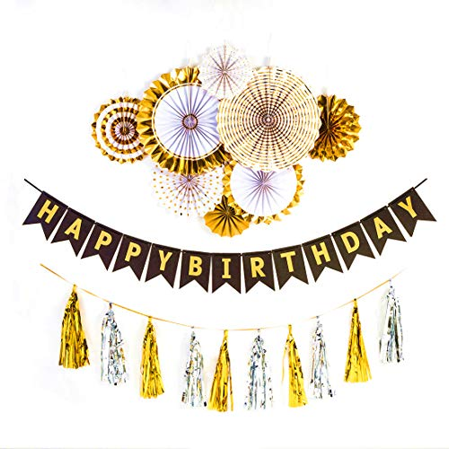 HOLLOSPORT Happy Birthday Party Decorations,Gold Silver Paper Flower Fans with Black Gold Birthday Banner and Gold Silver Tissue Tassels,Accessories Packed -