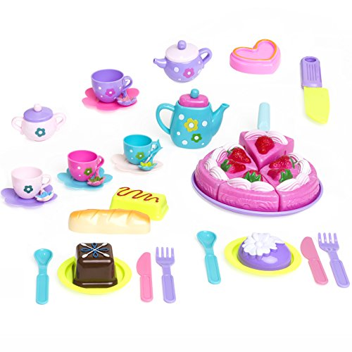 Best Choice Products 37-Piece Pretend Kitchen Cake Tea Foods Kids Party Playset