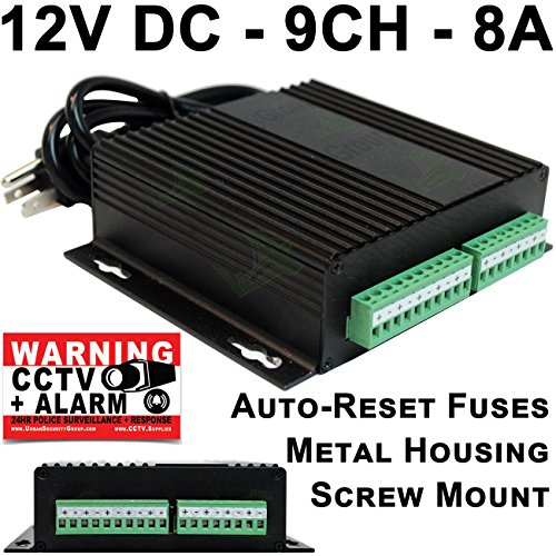 USG 9 Channel CCTV Power Supply : 12V DC, 8A, PPTC Auto Reset Fuses, Screw or Desktop Mount, 2-Wire Terminal Block, Metal Housing : for 12V DC Security Cameras : Business Grade