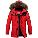 CUKKE Men's Faux Fur Hooded Down Jacket Parka Winter Outwear (S, Red)