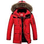 CUKKE Men's Faux Fur Hooded Down Jacket Parka Winter Outwear (S, Red)