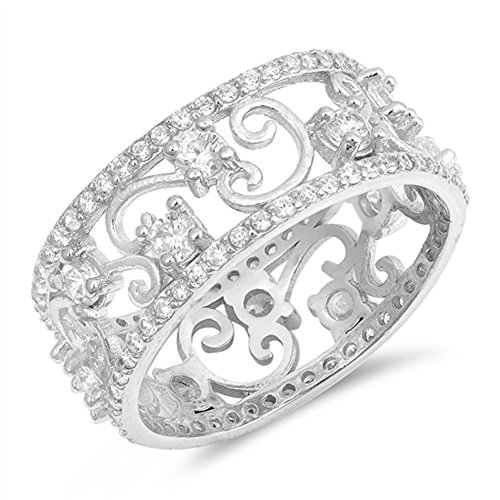 Clear CZ Swirl Filigree Elegant Ring .925 Sterling Silver Thumb Band Size - Band Filigree Silver Sterling