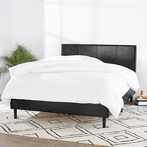AmazonBasics Faux Leather Upholstered Platform Bed Frame with Wooden Slats, Queen