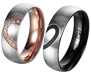 6MM His Hers For Real Love Heart Promise Ring Stainless Steel Couples Wedding Engagement Bands