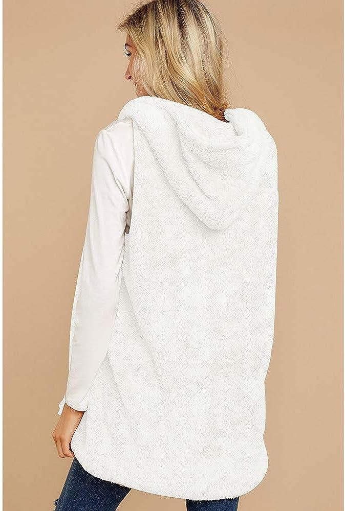 Women Faux Fur Vest Winter Casual Hoodie Sleeveless Warm Waistcoat Soft Outwear Tops
