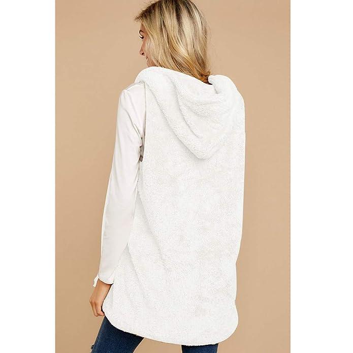 Beladla Chaleco de Invierno Mujer cálido Sudadera con Capucha Pelo sintético Chaqueta Sherpa con Botón Jersey Sweater Abrigos: Amazon.es: Ropa y accesorios