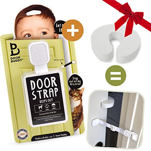 Door Buddy Child Door Lock and Foam Baby Door Stopper. Baby Proofing Doors Made Simple with Easy to Use Hook and Latch. Keep Baby Out, Prevent Finger Pinch Injuries, and Allow Cats Easy Access.