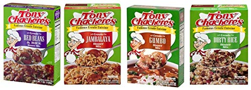 Tony Chachere's Creole Cuisine Rice Variety Seasoning Dinner Mix Bundle Multi-Pack of 4 Boxes - Creole Red Beans & Rice, Jambalaya, Gumbo, Dirty Rice Flavors (Best Ham For Dinner)