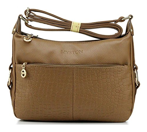 Small for body PU Hobo Bagtopia Ladies Casual Leather Khaki Crocodile Purses Shoulder Women's resistant Cross Water Bags EqPORTPxw