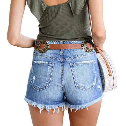Weigou Women Denim Shorts Retro Hole Short Jeans Junior Vintage Fringe Mini Jeans