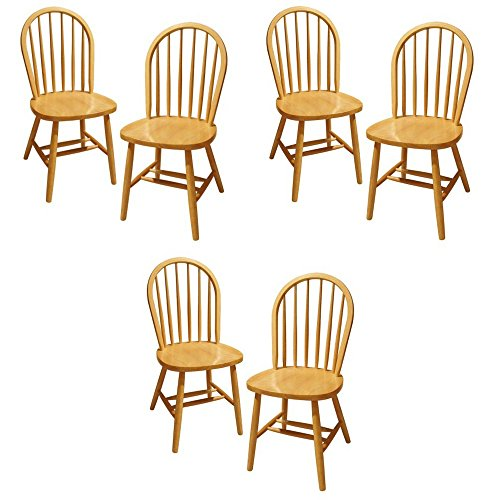Winsome Wood Windsor Chair, Natural, Set of 6 - 6 Windsor Chairs