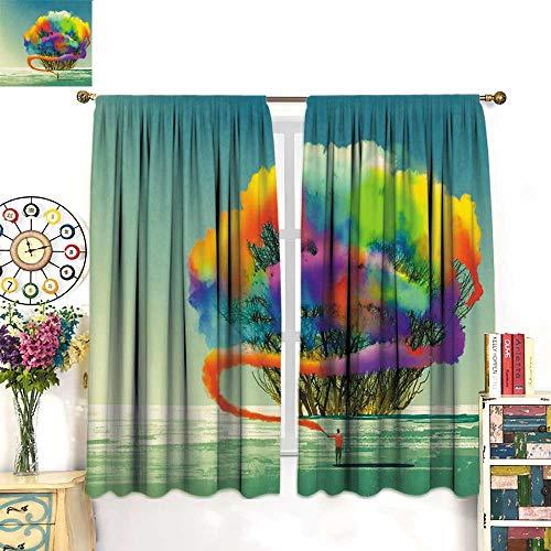 longbuyer Window Curtain 2 Panel Man Draws Abstract Tree with Colorful Smoke Flare Drapes Panels W63 x - Smoke Handheld Flare