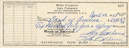 Rory Calhoun (d. 1999) Signed Autographed Vintage 1963 Personal Check
