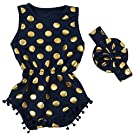 Jastore® Baby Girls' Cotton Gold Dot Romper Summer Jumpsuit with Headband (S/6-12 Month, Navy)