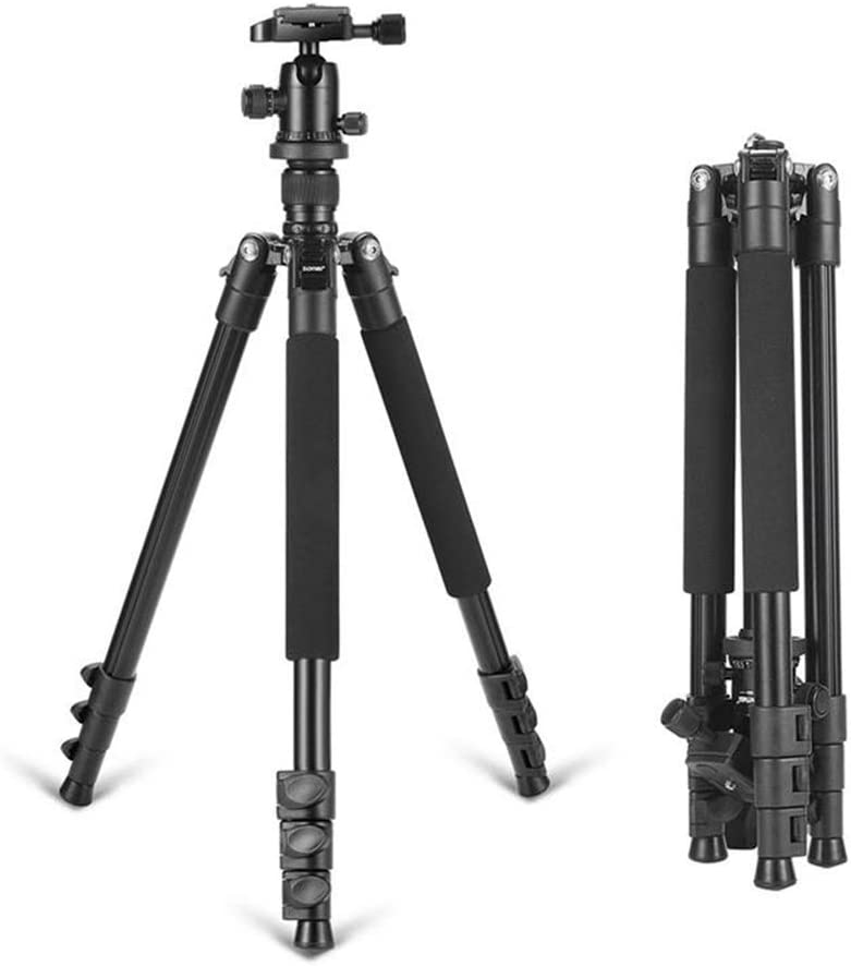 MDYYD Complete Tripods Aluminum Tripod Flexible Portable Camera Tripod Stand Tripe with Ball Head for DSLR Camera Lightweight Tripod Color : Black, Size : One Size