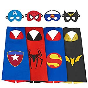 DEDY Toys for 3-10 Year Old Boys, Superhero Capes for Kids 3-10 Year Old Boy Gifts Boys Cartoon Dress up Costumes Party Supplies Stocking Stuffer 4 Pack