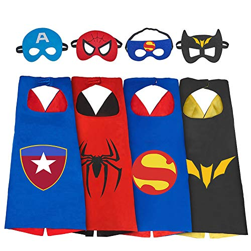DEDY Toys for 3-10 Year Old Boys, Superhero Capes for Kids 3-10 Year Old Boy Gifts Boys Cartoon Dress up Costumes Party Supplies Stocking Stuffer 4 Pack DDYXPF02