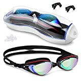 Swimming Goggles, Anti Fog Swim Goggles No Leaking Wide Vision Mirrored with UV