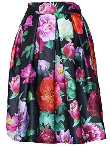 de Noir Peony floral jupe ebouriffer cru femmes Taille feuille haute Helan 41qxUAIw