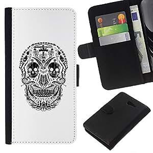 Be-Star la tarjeta de Crédito Slots PU Funda de cuero Monedero caso cubierta de piel Sony Xperia M2 ( Skull White Smile Creepy Death Black )
