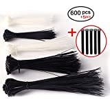 Topfinder Self locking Zip Ties,600 Pcs in 6'' 8'' 10'' Nylon Canle Ties Wraps Black & White with 5 Free reusable Zip Strap for Home Office Workshop Garage (600pcs(6'' 8'' 10''))
