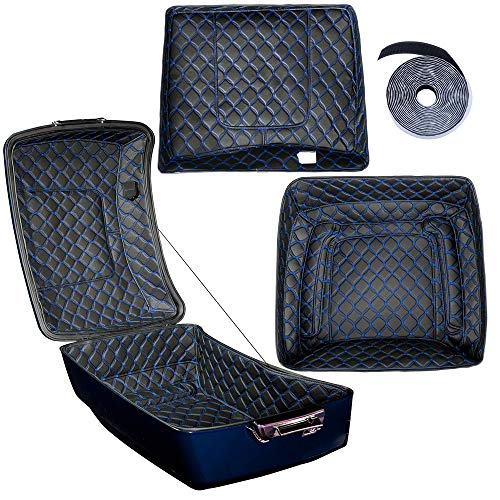 Ready to Ship! King Tour Pack Inserts Touring Pak Liner Fit for Harley Davidson/Advanblack King Tour Pak(Blue Thread Stitching, Synthetic Leather, 1 Set)