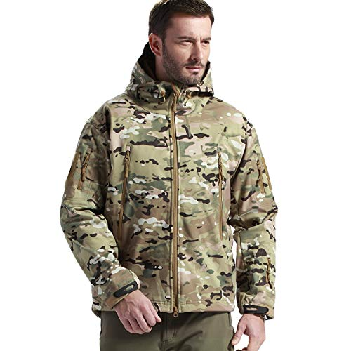 Tactical Jacket Waterproof Army Military Hooded Jacket Softshell Autumn Winter Jacket (CP Camouflage XL) ()