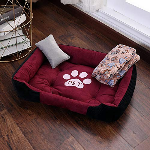 Glashaus Kennel winter Baodi small dog large dog bed four seasons universal dog mat pet nest cat litter, red and black three-piece suit, 120  90cm