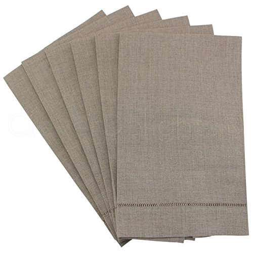 6 Pack – CleverDelights Natural Linen Hemstitched Hand Towels – 14 x 22 – 100% Linen – Tea Towels
