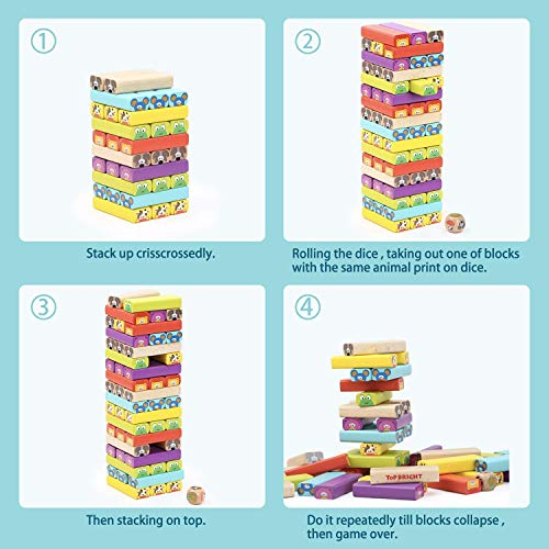 TOP BRIGHT Colored Wooden Blocks Stacking Board Games for Kids Ages 4-8 with 51 Pieces