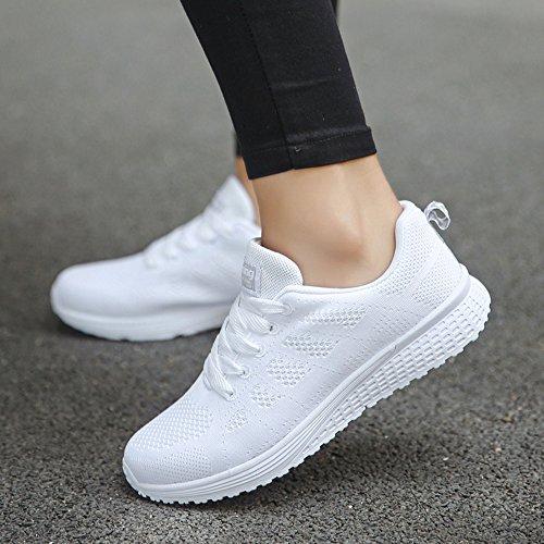 Damen Schnürsenkel Damen Outdoor Turnschuhe mit 2018 Weiß Sommer Mesh Sportschuhe PLOT Damen Laufschuhe Atmungsaktiv Fitnessschuhe Sneaker TfSRU