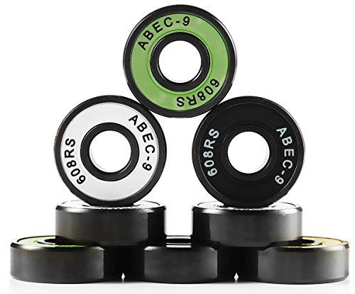 NIKCEL 608 Bearing Skateboard Deck Skidding Spinner Bearing,ABEC-9 Precision Speed Bearing, Ceramic Hybrid/Chrome Steel, Black Surface, Super smooth