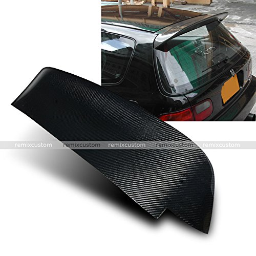 92-95 Honda Civic 3DR Hatchback EG Carbon Fiber Spoon Style Rear Roof Spoiler Wing - Hatchback Carbon Fiber Spoiler