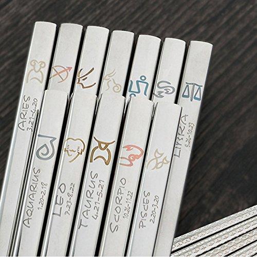 304 Stainless Steel Korean Chopsticks Zodiac Patterns Person